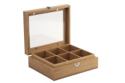 Bredemeijer 6-compartment Bamboo Tea Box With Window, Brown
