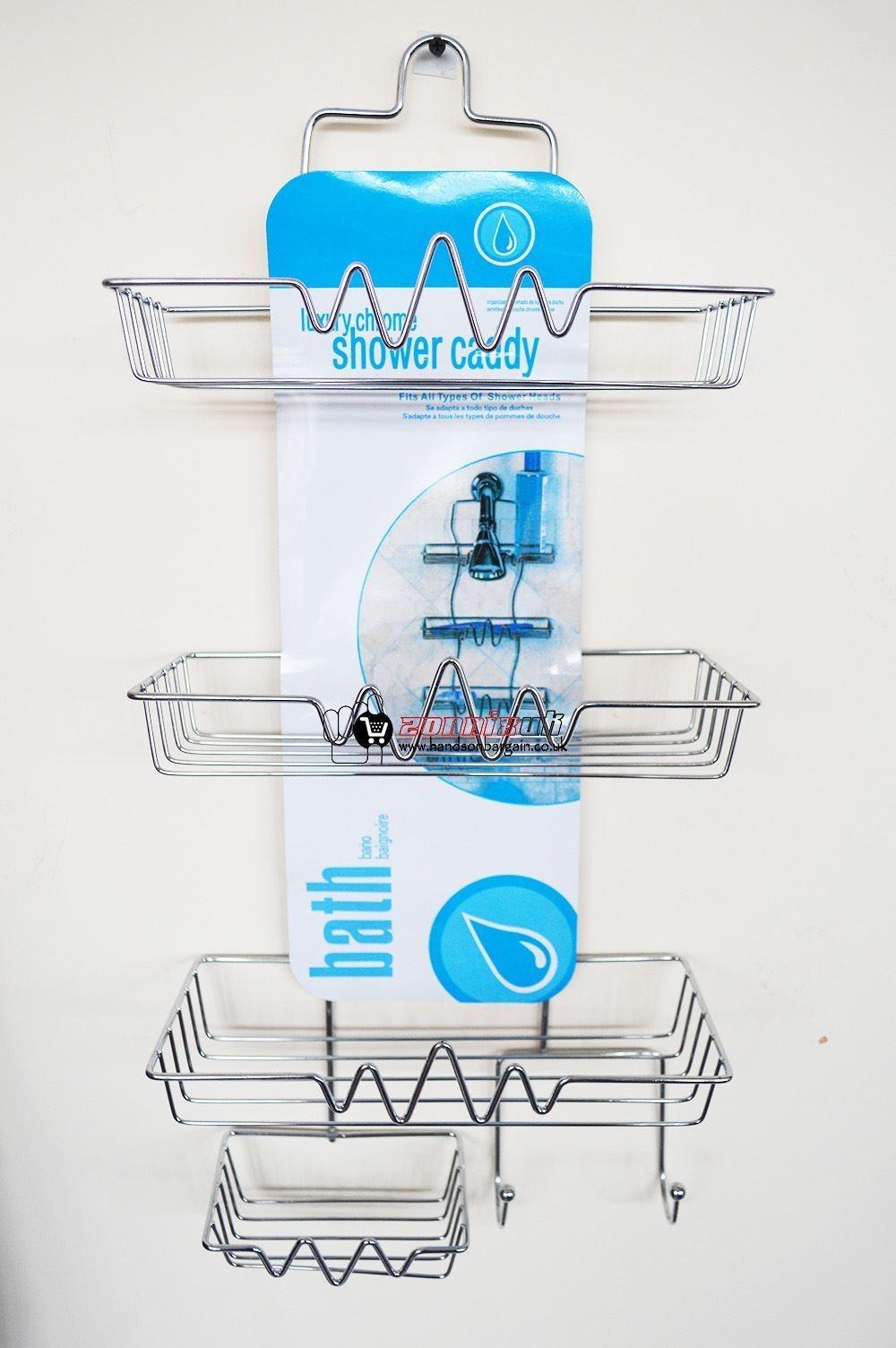 4 Tier Bathroom Organiser Caddy Shower Tidy Hanging Unit Basket ...