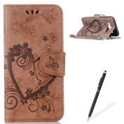 Feeltech Samsung Galaxy J5/J5 2015 Flip case, Luxury Embossed Heart Butterfly Series Design Pattern Premium Ultra Slim PU Leather Wallet Cover [With Free Stylus Pen] Magnetic Clasp Closure Soft TPU Inner Bumper Built-in Foldable Stand Function Pocket C ..