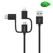 Multiple USB Charging Cable, Foxsun 3.3 ft/1m 3 in 1 USB Cable with Type C/8 Pin Lighting/Micro USB Connector for iPhone 7, 6, 5, Samsung Galaxy S3/S4/S5/S6/S7 Edge,LG,HTC,Nexus 6P, 5X and More-Black