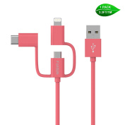 Multiple USB Charging Cable, Foxsun 3.3 ft/1m 3 in 1 USB Cable with Type C/8 Pin Lighting/Micro USB Connector for iPhone 7, 6, 5, Samsung Galaxy S3/S4/S5/S6/S7 Edge,LG,HTC,Nexus 6P, 5X and More-Red