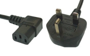 3m Mains Power Cable with 90 Degree Right Angled Kettle Type IEC Socket by electrosmart® ~ Available in black or White