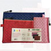 Versatile Decor Zip Up Make Up Mesh Plastic Pouch Bag Asstd. pack of 3