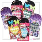 96 Sets x Kids False Nails Pre-Glued Individually Boxed Many Designs Colours