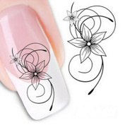 Fashion gallery Beauty Accessories Nail Art Water Transfer Decal Sticker Decorations Tips Design White Flower