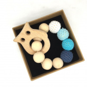 Coskiss Crochet Bead Teething Ring Set Untreated Maple Teether with Organic Wood Toy Wood Owl Bracelet Baby Mom Kids Wooden Teether Bangle