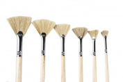 Artist Paint brushes Oil Professional Fan Brush Hog Hair Paintbrush Set-Long handle.