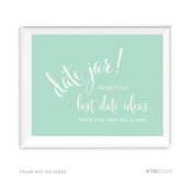 Andaz Press Wedding Party Signs, Mint Green, 22cm x 28cm , Date Jar Share Your Best Date Idea With the New Mr. & Mrs. Sign, 1-Pack