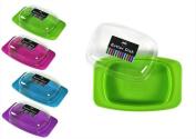 New Plastic Butter Dish Box Holder Kitchen Fridge Storage Lid Assorted Colours