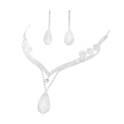 Costume Silver and Clear Diamante Pear Drop Necklace and Earrings Necklace Set …