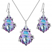 EVER FAITH® 925 Sterling Silver CZ Baroque Inspired Necklace Earrings Set Embellished with Crystals from ®