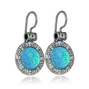 925 Sterling Silver Created Blue Fire Opal Earrings with Ornate Floral Design & Secure Backs