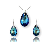 Crystals & Stones 925 Sterling Silver Large Charm Set Almond Colour Bermuda Blue Beautiful Women's Jewellery Set Elements Crystal – Lovely Earrings and Necklace with Gift Box
