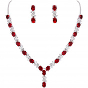 Clearine Women's Elegant Delicate Cubic Zirconia Infinity Y-Shape Necklace Dangle Earrings Set