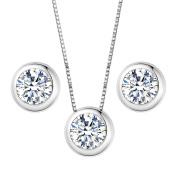 Clearine Women's 925 Sterling Silver Delicate Elegant Cubic Zirconia Bezel Set Solitaire Pendant Necklace Pierced Earrings Set