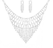 Costume Silver and Clear Diamante Square Drop Cascading Wedding Jewellery Necklace and Earring Set
