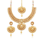 I Jewels Gold Plated Jewellery Set with Maang Tikka and earrings for Women MS115