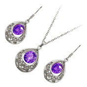 GWG® Sterling Silver Plated Jewellery Set of Vintage Filigree Pendant Necklace and Earrings Round Coloured Zircon Stone Within Teardrop for Women