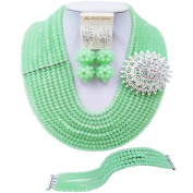 laanc Fashion 10 Rows Mint Green Crystal African Beads Nigerian Wedding Jewellery Sets