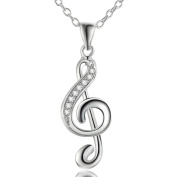 IzuBizu London Music Key Note Necklace Silver Plated Sol White Crystal Pendant - Free Gift Box