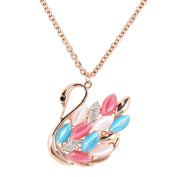 Alfredo Pauly Couture Jewellery reminiscent of French Designer Rose Faux Cat Eye Gold Plated Crystal Swan Necklace