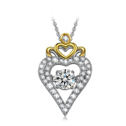 Dancing Heart Crown of Love 925 Sterling Silver Necklace for Women