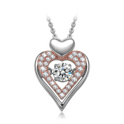 Dancing Heart Eternal Love 925 Sterling Silver Necklace for Women