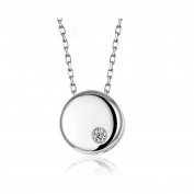 Circle 925 Sterling Silver Pendant Necklace Round Necklaces Women Girl 46cm Chain Simple Style for Mum Wife Girlfriend