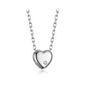 Simple Heart 925 Sterling Silver Pendant Necklace Women Girl 46cm Chain Necklaces for Mum Wife Girlfriend