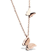 Double Butterflies Pendant With Rose Gold Necklace - Fine Jewellery By Cara Z