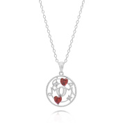 Sterling Silver Rhodium Plated Cubic Zirconia Mom Word and Heart Pendant Necklace, 44 cm