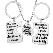 BESPMOSP 3PCs Daddy's Girl Mommy's World Keychain Necklace Set, Gift for Daughter, Mom Dad Family Jewellery
