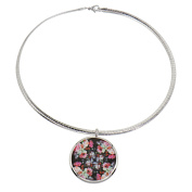 Alfredo Pauly Couture Jewellery reminiscent of French Designer Necklace Rhodium Plated Omega Hoop Flower Image