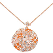 Alfredo Pauly Couture Jewellery reminiscent of French Designer Flowers Necklace Rose Gold Plated Faux Crystal Cat Eyes