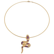 Alfredo Pauly Couture Jewellery reminiscent of French Designer Snake Necklace Gold Plated Omega Necklace Crystal