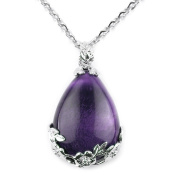 Merdia Jewellery Teardrop Pendant Necklace with Created Amethyst for Women