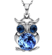 Owl Owl Silver Plated Necklace with Crystal
