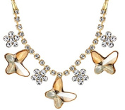 Gold Plated Crystal Butterfly Necklace