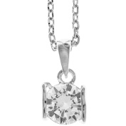 18K White Gold Plated Jewellery Set with 'Heart and Crystal' Design and High Quality Crystals by Matashi