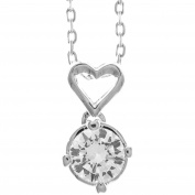 18K White Gold Plated Necklace with Crystal & Heart Design with a 41cm Extendable Chain and High Quality Crystals by Matashi