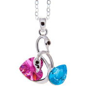 Rhodium Plated Necklace with Loving Swans Design with a 41cm Extendable Chain and High Quality Rose and Ocean Blue Crystals by Matashi