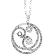 18K White Gold Plated Necklace with Entangled Swirl Design with a 41cm Extendable Chain and High Quality Crystals by Matashi