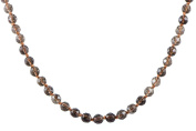 AqBeadsUk Classic Semi-Precious 8mm Gemstone Smoky Quartz Faceted Round Beads 19.5 inch Luxury Hand-Knotted Women's Necklace
