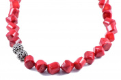 AqBeadsUk Classic Semi-Precious 14mm Gemstone Red Coral Drum Beads 48cm Luxury Handmade Women's Necklace