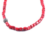 AqBeadsUk Classic Semi-Precious 11x10mm Gemstone Red Coral Tube Beads 19.2 inch Luxury Handmade Women's Necklace