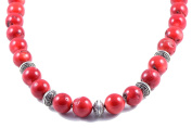 AqBeadsUk Classic Semi-Precious 16mm Gemstone Red Coral Round Beads 18.8 inch Luxury Handmade Women's Necklace