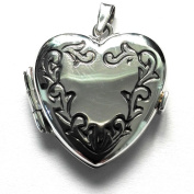 Sterling Silver Heart Shaped locket Pendant in Aged Silver. 925 Sterling Silver Jewellery.