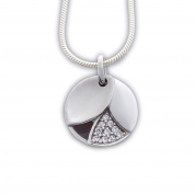 Ass 925 silver partially Matted with White Cubic Zirconia Round Pendant