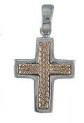 Silver Pendant Cross bicolor with Glossy Finish. JOYERIA Sterling Silver 925.