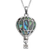 Kiara Jewellery Hot Air Balloon Pendant Necklace Inlaid With Natural Greenish Blue Paua Abalone Shell on 46cm Trace Chain. Non Tarnish Silver Colour Rhodium plated.